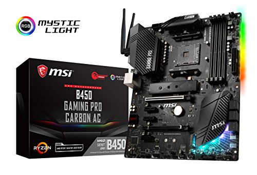 MSI Performance Gaming AMD Ryzen 1st and 2nd Gen AM4 M.2 USB 3 DDR4 HDMI Display Port WiFi Crossfire ATX Motherboard (B450 Gaming PRO Carbon AC) ()