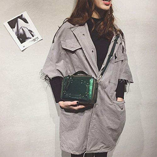 Roscloud@ Bolso pequeño bolso de hombro de mujer remaches de moda remaches pequeño bolso cuadrado bolso de mensajero ( Color : Negro ) Verde