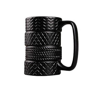 Tazas De Forma De Neumático De Coche Con Manija Para Botella De Titular De Agua De Café Negro: Amazon.es: Hogar