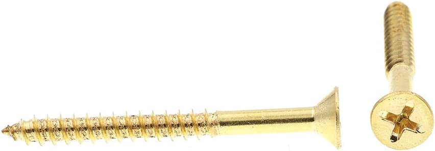 Flat Head Phillips Pack of 50 #10 X 2 in Solid Brass Prime-Line 9035814 Wood Screw
