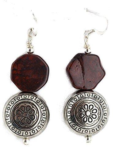 .925 Sterling Silver Hooks Certified Authentic Navajo Natural Red Jasper Native American Dangle Earrings