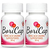 2 Pack - BoriCap Boric Acid Vaginal Suppositories | 56 Total Count, 600mg | Capsules Size 00 | No Fillers or Artificial Colors | Gynecologist Instructions Included | Made in the USA