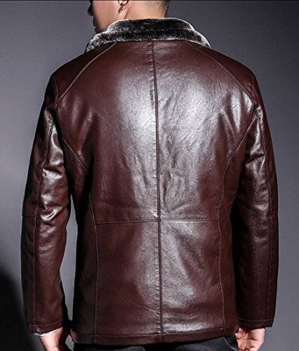 Men's Trench Coats Thick Slim Gocgt Brown Jacket Jacket Down Outwear PU SO7Cxaxwqn