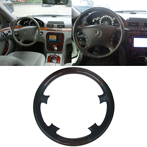 Mercedes Wood Leather Steering Wheel (Black Leather Brown Wood Steering Wheel Protector Cover Cap for 1998-2005 Mercedes Benz W220 S Class S280 S320 S430 S500 S600 C215 W215 CL Class CL500 CL600 CL55AMG)