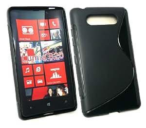 Emartbuy ® Nokia Lumia 820 Lcd Screen Protector Y Ondulado Gel Cubierta De Piel Negro