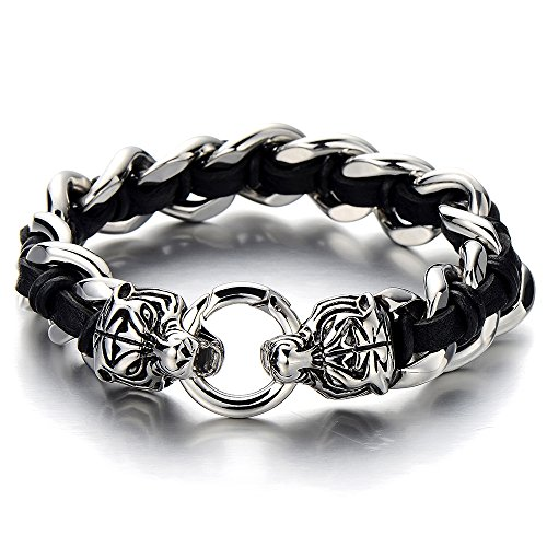 (COOLSTEELANDBEYOND Large Stainless Steel Mens Roaring Tiger Braided Curb Chain Bracelet with Black Leather Retro Style)