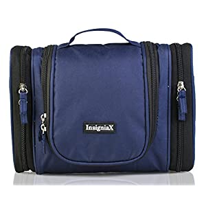 "Hanging Toiletry Bag: InsigniaX Cosmetic Organizer For Adults [Valentines Gifts for Him or Her] Folded Size: H: 9.8"" x W: 4.4"" x L: 8.3"" (Large, Navy Blue)"