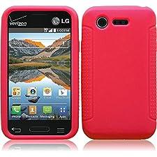 LF 4 in 1 Bundle – Silicon Skin Case Cover, Lf Stylus Pen, Screen Protector & Droid Wiper Accessory for LG Optimus Fuel L34C (Straight Talk, Tracfone, Net 10), LG Optimus Zone 2 VS415PP (Verizon) (Skin Red)