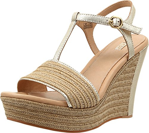 UGG Women's Fitchie Metallic Soft Gold Leather Sandal 9.5 B (M) (Footwear Leather Soft Gold)