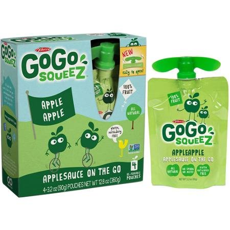 GoGo squeez AppleApple Applesauce On The Go, 3.2 oz, 4 ct by Materne