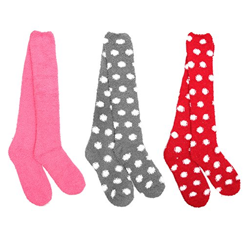 Dots Knee High - Super Soft Warm Microfiber Fuzzy Knee High Polka Dots Socks - Assortment 4 - 3 Pairs - Value Pack