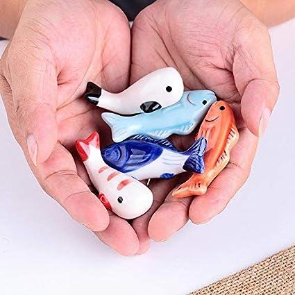 Pelloy Keramik Fisch Keramik Besteckb/änkchen Essst/äbchen Halter Essst/äbchen Ablagen 6 cm Blau
