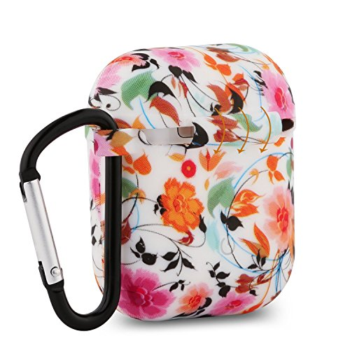Baaletc Silicone Protective Cover Case Metal Keychain Apple AirPods(Floral Design)