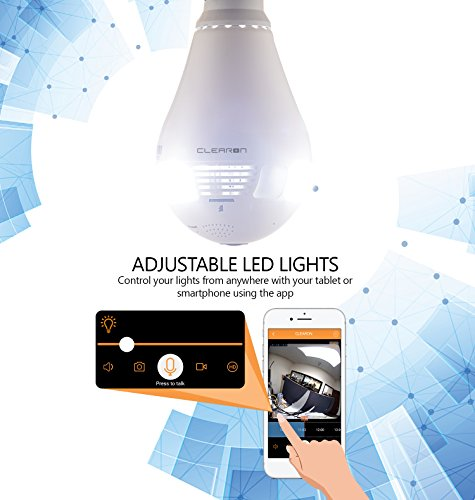 Wifi Light Bulb Camera for Home Security - 360° Panoramic Wireless Hidden  Camera with LED White Lights and Infrared Lights - Night Vision Spy CAM -