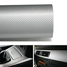 24 by 48 inches 3D Twill Weave White Silver Carbon Fiber Vinyl Sheet