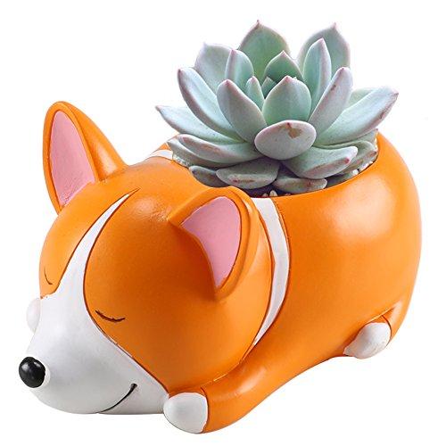 Anpatio Mini Resin Animal Plant Pot Adorable Carton Corgi Succulent Planter Desktop Flowerpot Fairy Garden Home Garden Decoration