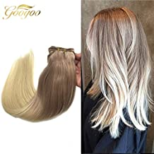 Googoo 120 Gram 7 Piece set Remy Human Hair Clip in Doubled Weft Hair Extensions Ombre Ash Blonde to Bleachd Blonde #613 Full Head Clip ins Hair Extensions 24inches