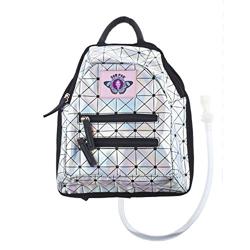 Dan-Pak Mini Backpack Hydration Pack -Holographic Disco - Silver, Black, and Pink Bag