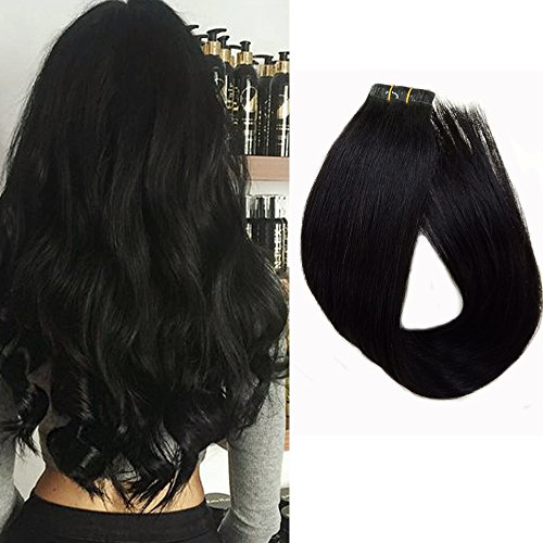 Human Hair Tape in Extensions Black 18 Inches Tape in Remy Hair 20 Pcs/Pack Silky Straight Skin Weft Hairpieces, Color #1B