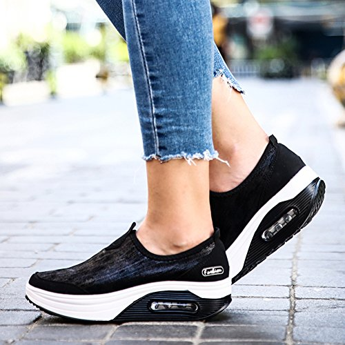 Respirables Aire Gruesa con de Zapatos Simples Estilo de Viaje con Inferior la de Ligeros CONMING el Talón para Black Zapatos Amortiguador Cuña Mujer YnOqXOpT