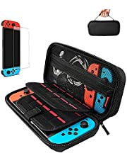 Case for Nintendo Switch,Protective Hard Shell,Switch Travel Carrying Case,Rubberised Handle,Pouch for Nintendo Switch Console and Accessories,20 Game Cartridge,with 1-pack Tempered Glass Screen Protector for Nintendo Switch (Black)