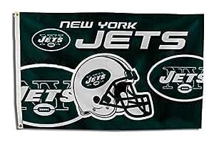 Nueva York Jets Chorros de bandera, bandera, bandera de banderas de cinco estrellas, para uso interior o exterior, 100% poliéster, 3x 5pies.