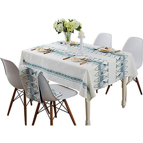 Blue/Red small fish fashion simple rectangle tablecloth rectangular 55 x 55 inch approx -