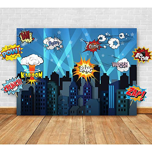 Superhero Cityscape Photography Backdrop and Studio Props DIY Kit. Great as Super Hero City Photo Booth Background - Birthday Party and Event Decorations]()