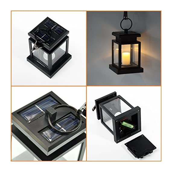 "AMEI Solar Lantern, Solar LED Deck Light, Outdoor Hanging Solar Garden Light, Patio Lanterns, Yard Decorations,Hanging… - Small & Portable - 3.5"" x 3.5"" x 4.9"", with a metal clamp and ring, you can change lighting place to yard garden lawn patio umbrella outdoor anywhere you can hang. Energy-Saving & Auto On-OFF - Powered by solar, you just need take this led lantern under direct sunshine 4-6 hours, the included rechargeable battery will storage plenty of energy to light dusk to dawn with Auto on-off. No added electricity fee or battery cost. High Quality Made, long service life, no UV or IR, environmental friendly.4 to 5 hours of sunlight at day time provides 6 to 9 hours brightness at night. - patio, outdoor-lights, outdoor-decor - 51XEmx5IC0L. SS570  -"