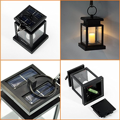 Kyson Solar Power Vintage Latern Candle Twinkle Effect 2 LEDs Outdoor waterproof Hanging Umbrella Garden Pathway Stairs wall Led Lamp Light Pack of 4 by Kyson (Image #2)