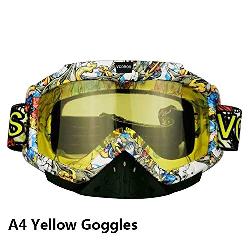 (VCOROS DH MX Motocross Goggles For Men Adult Youth 100 Dirtbike Goggles (A4 Yellow Lens))