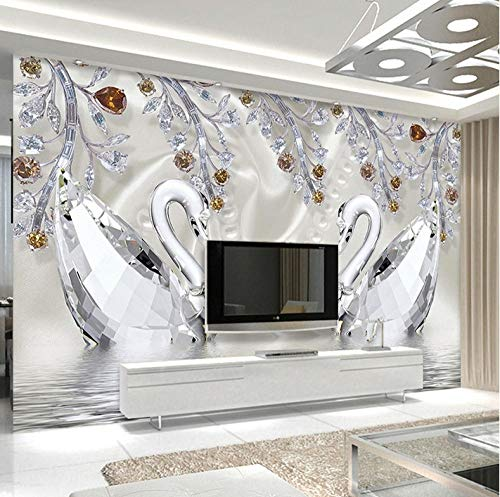 HZDDR Photo Wallpaper 3D Stereo Crystal Diamond Swan Lake Romantic Beautiful Jewelry TV Background Wall Mural European Style 3 D Decor-380cm x 240cm