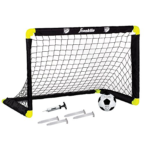 Franklin Sports MLS Mini Soccer Goal - 36 x 24 Inch - Includes Size 1 Soccer Ball and Ball Pump Goal Net Set