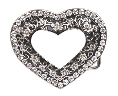 Rhinestone Heart Belt Buckle - Ladies Rhinestone Flower Heart Cut-Out Belt Buckle