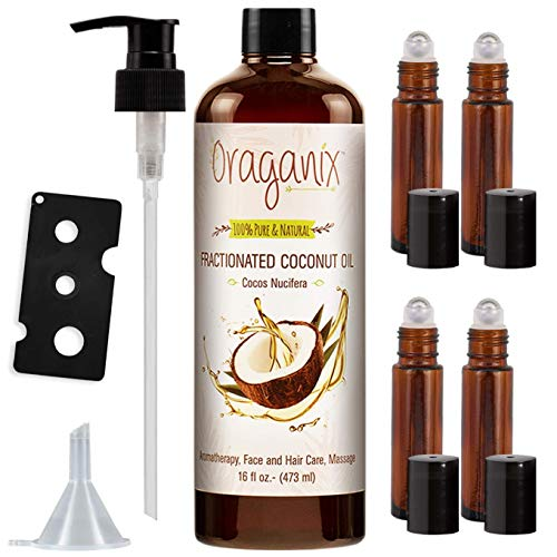 Oraganix Fractionated Coconut Oil with Essential Oil Roller Bottles - Carrier Oil for Essential Oils & Massage Oil with Hair & Skin Care Benefits - Includes 16oz Coconut Oil, 4 Roller Bottles & More