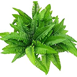 "leoyoubei 4Pcs Artificial Boston Fern Bush Plant 14"" Shrubs Greenery Bushes Indoor Outside Home Garden Office Verandah Wedding Decor"