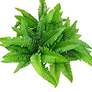 "leoyoubei 4Pcs Artificial Boston Fern Bush Plant 14"" Shrubs Greenery Bushes Indoor Outside Home Garden Office Verandah Wedding Decor 16"