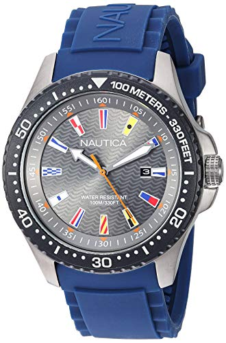 Nautica Men's Jones Beach Stainless Steel Japanese-Quartz Silicone Strap, Grey, 21.8 Casual Watch (Model: NAPJBC008