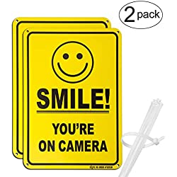"No Trespassing Warning Sign, Smile You're on Camera 10""x 7"" CCTV Security Camera Alert UV Protected, Reflective, Rust-Free, Waterproof Printed on 0.40 Heavy Duty Aluminum for Home or Business (2 Pack)"
