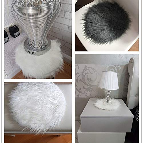 Rambling Soft Round Artificial Sheepskin Rug Chair Cover Artificial Wool Warm Hairy Carpet Seat for Bedroom,Livingroom,Indoor,Diameter:11.7''/15.6''/23.6'' by Rambling (Image #7)