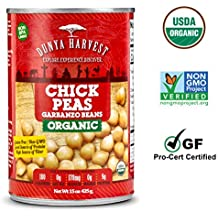 Dunya Harvest Canned Organic Chick Peas/Garbanzo Beans, Gluten Free and Non GMO Certified, 12 cans 15 ounces each
