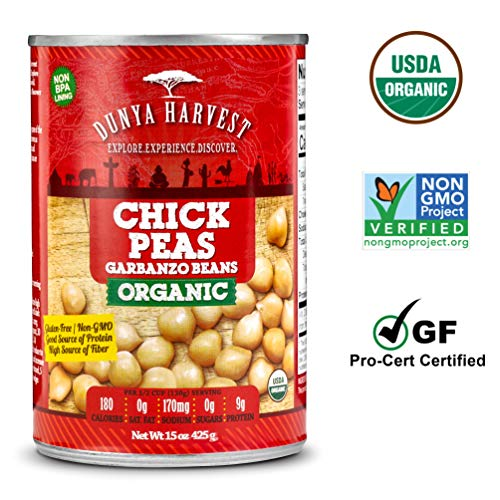 (Dunya Harvest Canned Organic Chick Peas/Garbanzo Beans, Gluten Free and Non GMO Certified, 12 cans 15 ounces each)