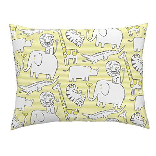 (Animal Jungle Zoo Safari Yellow Nursery Stripe Euro Knife Edge Pillow Sham Lullaby Jungle Yellow by Leanne 100% Cotton Sateen)