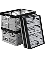 Sosody 16 L Collapsible Plastic Storage Crates, Foldable Milk Crate Baskets, Light Grey and Black, 4 Packs