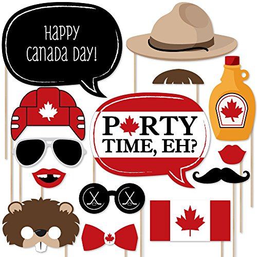 Big Dot of Happiness Canada Day - Photo Booth Props Kit - 20 Count -