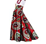 Tootless Womens Long African Print Big Pendulum Dashiki Pleated Party Skirt 4 M