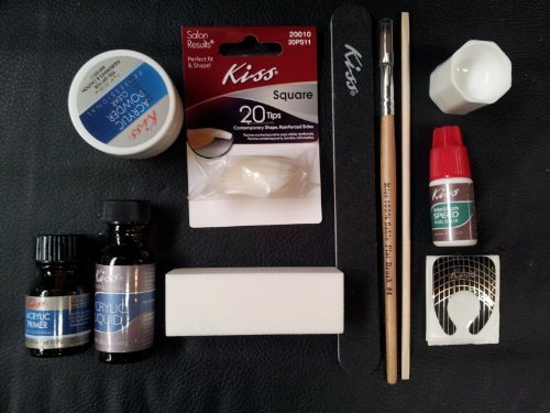 - Complete Acrylic Sculpture Kit-Starter Nail kit with Maximum Speed Nail Glue / Acrylic primer/Acrylic Liquid/Acrylic Powder/20 Natural Nail Tips/20 Nail Forms/Brush/Nail File and White Buff Block by Kiss