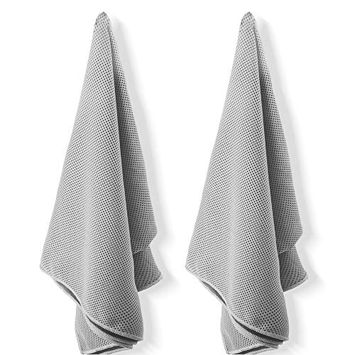 Edow Refreshing Towels,(2 Pack) Breathable Soft Chilling Towel,Super Compact Gym Towel, Cooling Neck Wrap(31″x12″) for Workout, Fitness, Running, Hiking, Yoga and Other Sports. (Gray, Standard)