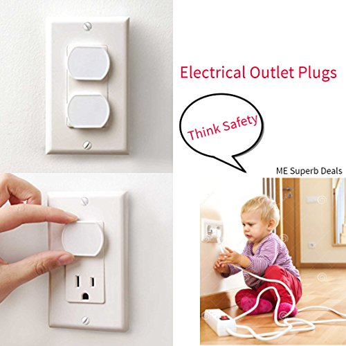 40 Count Premium Quality Childproof Outlet Covers – Value Pack – New & Improved Plastic Baby Proofing Caps – Durable & Steady – Pack of 40 Plugs by ME Superb Deals (Image #1)