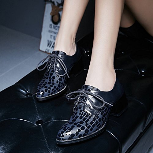 Mid Blue Chunky Casual Charm Oxford Western Up Lace Womens Heel Shoes Foot aYYnf6S4